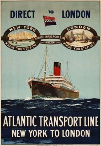 A poster advertising the reintroduced first class service in 1924 -- the image was also used on the covers of the passenger lists of the day (Swann Galleries)